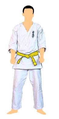 kyokushin-centura-galbena-cu-tresa-galbena-5-kyu